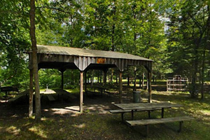 Photo of a picnic shelter in the park's campground.