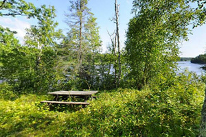 Photo of an overlook of the Rainy River from the hiking trail.