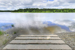 Photo of the public boat access, located on the Rainy River, just outside the park boundaries.