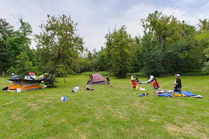 Photo of campers using the southeast group camp area.