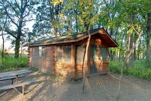 Photo of one of Glendalough State Park's camper cabins.