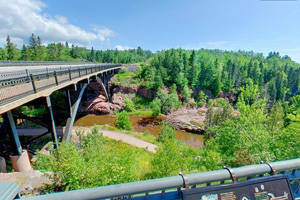 Photo of the Gateway Plaza atop the hundred yard 'Castle Wall' at Gooseberry Falls State Park.