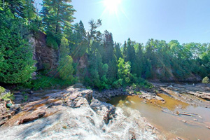 Photo of the Middle and Lower Falls at Gooseberry Falls State Park.