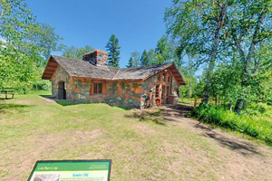Photo of the historic CCC Lady Slipper Lodge at Gooseberry Falls State Park.