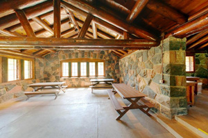 Photo of the interior of the historic CCC Campground Shelter at Gooseberry Falls State Park.