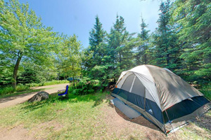 Photo of a tent set up at the Gooseberry Falls State Park campground.