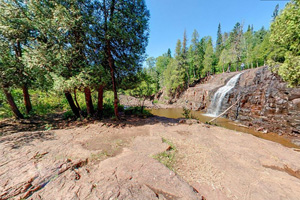 Photo of the lower west side of Lower Falls at Gooseberry Falls State Park.