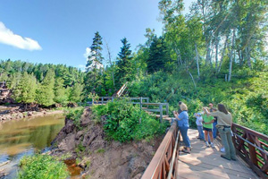 Photo of the bridge below Lower Falls at Gooseberry Falls State Park.
