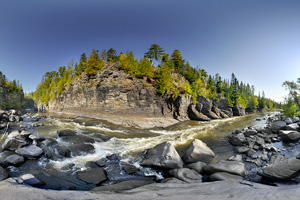 Photo of a river gorge lies just downstream from High Falls.