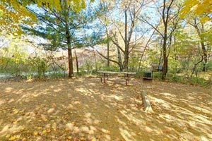 Photo of Campsite #2 in Great River Bluffs State Park's main campground, with a fire ring and picnic table in the background.