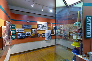 Photo of a variety of displays within the Clubhouse Building.