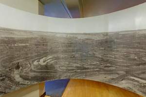Photo of the panoramic display showing the Hill Annex Mine during the 1940s.