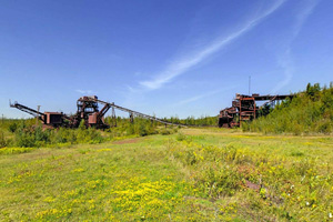 Photo of historic mining equipment called the D Pocket, the Crusher, and the Heavy Media Plant.