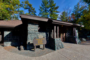 Photo of the Visitor Center that houses interpretive exhibits and a gift shop.