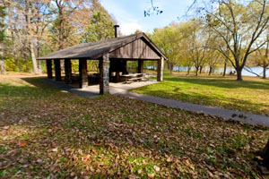 Photo of a shelter located in the picnic grounds.