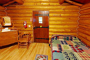 Photo of the interior of a Bear Paw Cabin.