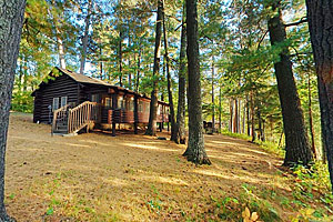 Photo of one of the Douglas Lodge cabins with a view of Lake Itasca.