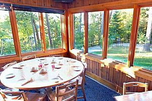 Photo of a corner table inside the Douglas Lodge Restaurant.