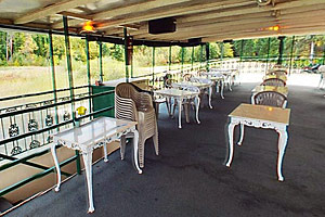 Photo of seating area on the tour boat deck.