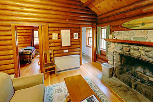 Photo of the interior of one of the Douglas Lodge cabins.