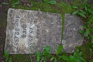 Photo of an 1887 headstone in Pioneer Cemetery.