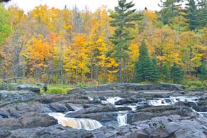 Photo of fall colors beyond the rapids.