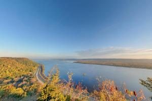 Photo of Mount Charity Overlook, with views of the Mississippi River, bluffs, prairie and floodplain forests.