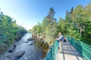 Photo of bridge over Brule River rapids.