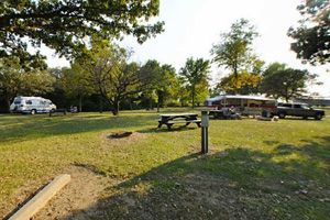 Photo of the seasonal campground offers shade and wide open spaces.