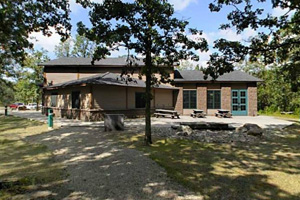 Photo of the trail center building, a place that offers interpretive programs and events.