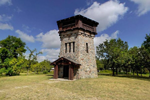 Photo of the observation tower which provides spectacular views to those who climb its stairs.