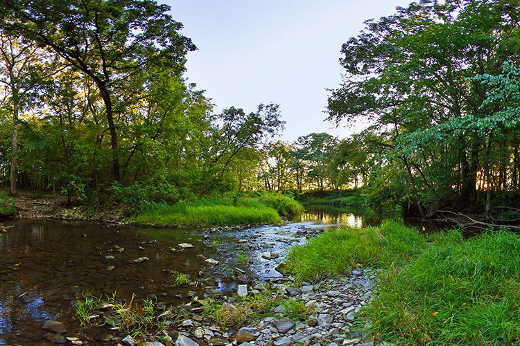 Photo of the Little Iowa River as it enters the park as one of two tributaries that supply Lake Louise.