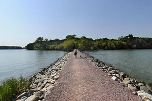Photo of a causeway that connects Loon Island to the mainland.