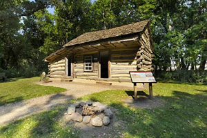 Photo of the historic Koch Cabin, one of the original buildings from the Lake Shetek settlement.