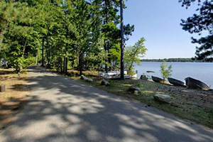 Photo of a road along the popular Side Lake Campground.