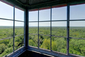 Photo of the views inside of top of the park's 100-foot high observation tower.