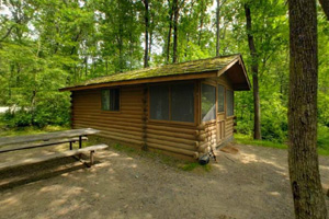 Photo of one of the park's camper cabins, nestled in the woods.