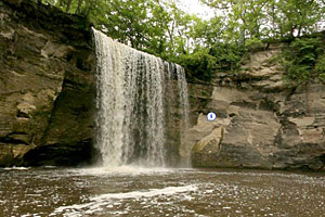 Photo of the Lower Falls, the main attraction in Minneopa State Park.