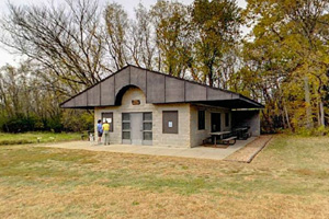 Photo of the trail center, a fine place to enjoy a picnic lunch.