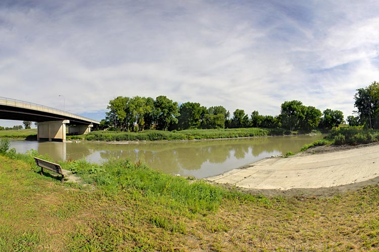 Photo of  a ramp provides boat access to the Red Lake River.