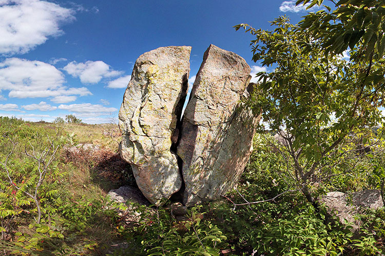 Photo of a distinctive gneiss outcrop located in the Morton Outcrop Scientific and Natural Area.