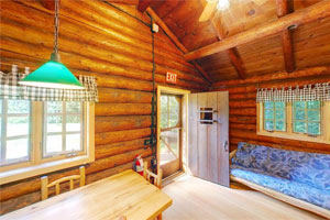 Photo of the interior of Scenic State Park's rental cabin.