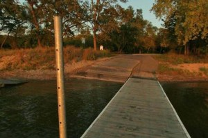 Photo of docks and boat ramp on the north shore of Lake Andrew.
