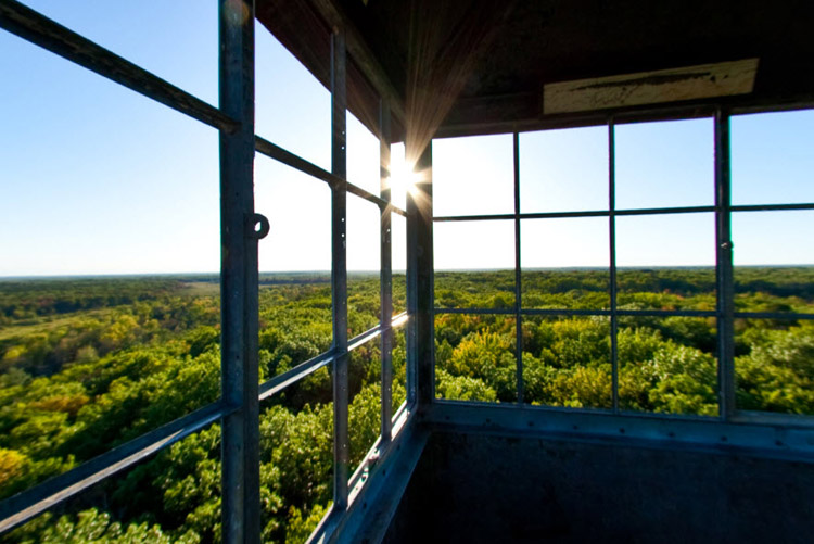 Photo inside the observation tower of the St. Coix River valley and landscape.