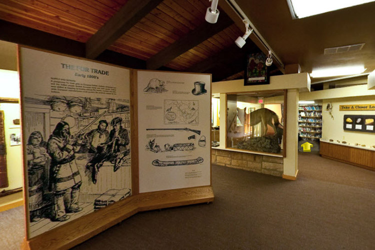 Photo of the educational exhibits inside the Interpretive Center.