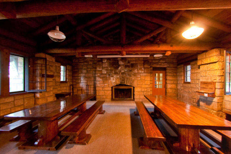 Photo of the rustic wooden ceiling beams inside the St. Croix Lodge.