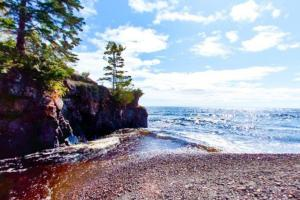 Photo of Lake Superior where the Temperance River empties into the lake.