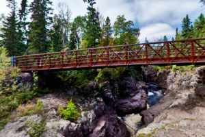 Photo of the Upper Bridge, set high over the river gorge.