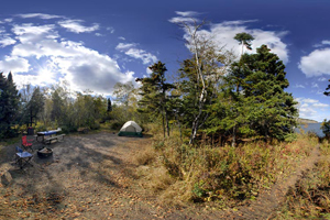 Photo of a cart-in campsite providing a more secluded camping experience near the Lake Superior shoreline.