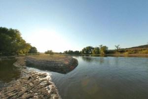 Photo of a sandbar near the fishing access along the Yellow Medicine and Minnesota rivers.